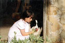 Rachel Rice pictured with Sunshonik the dog during the filming of Mister Dog 1994