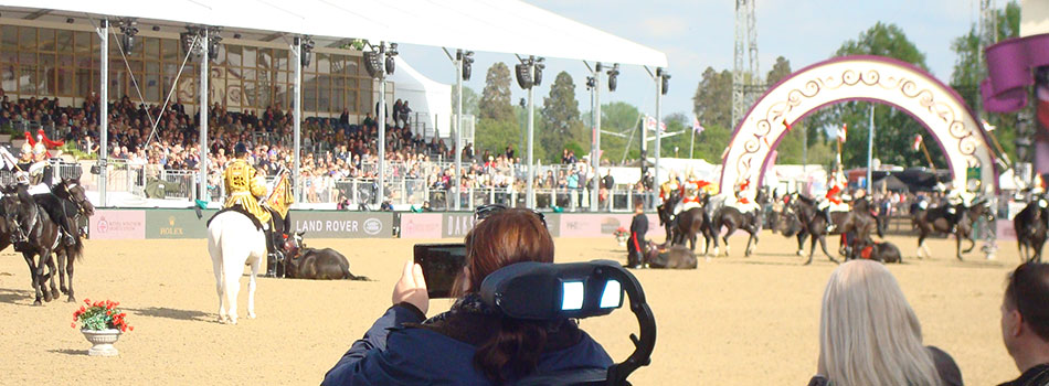 Watching the Household Cavalry mounted regiment at Windsor Show